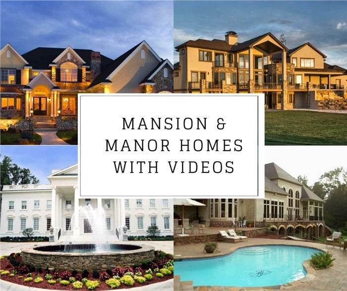 Four luxury houses illustrating article about videos for mansion and manor type homes