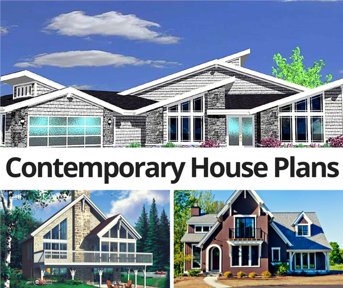 Montage of three images showing Contemporary house plans