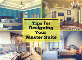 Montage of 4 photographs illustrating article on master suites