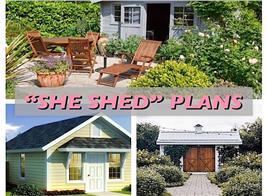 """3 sheds illustrating article on """"She Shed"""" plans"""