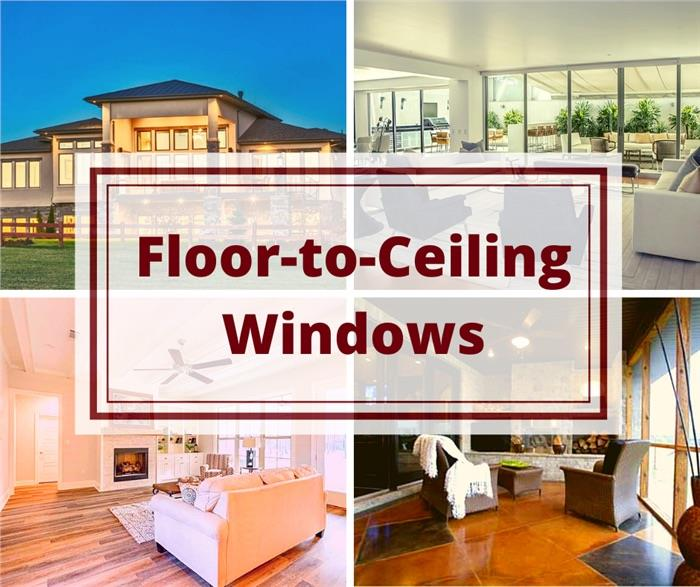 interior and exterior views of large windows illustrating article about floor-to-ceiling windows in homes