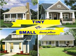 Montage of 4 images illustrating article about tiny vs. small homes