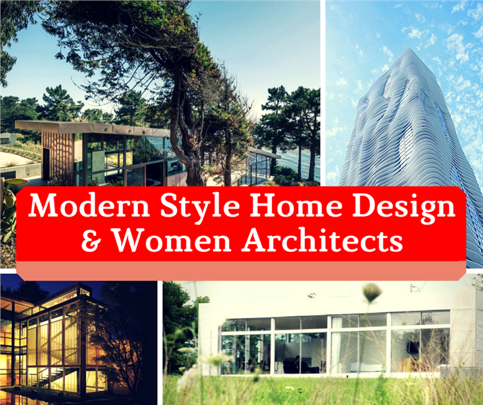 Montage of 4 photos illustrating article on modern women architects