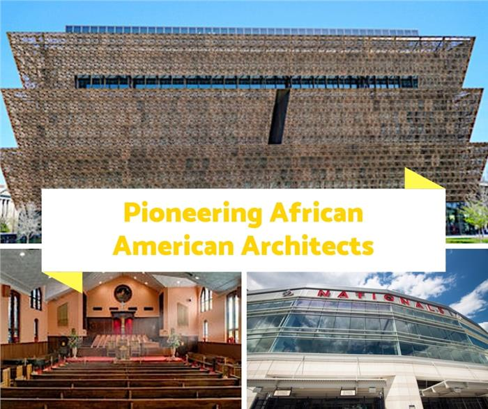 Montage of 3 photographs illustrating article on Black Architects