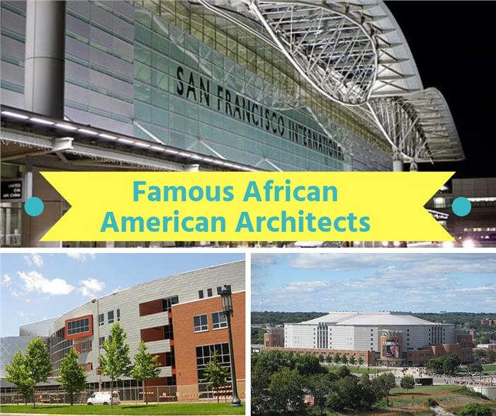 Montage of 3 photos illustrating article on African American Architects