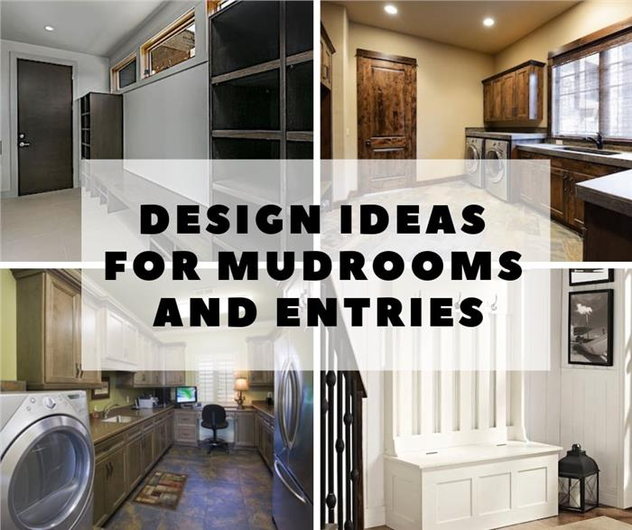 Four photos of mudrooms and entries illustrating article on designing mudrooms