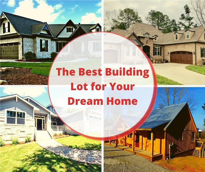 Montage of 4 houses illustrating article on types of building lots to choose from