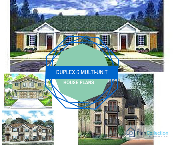 The finest duplex town house and multi unit home plans for Multi unit house plans