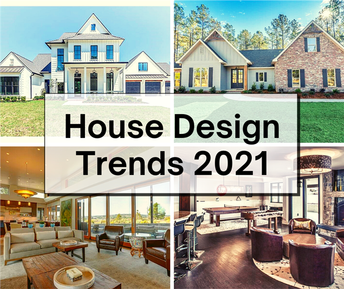 2 exterior and 2 interior views of homes illustrating article about 2021 House Design Trends