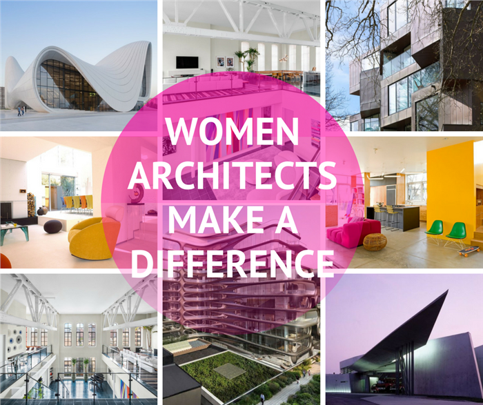 Montage of 9 photographs illustrating article on women in architecture