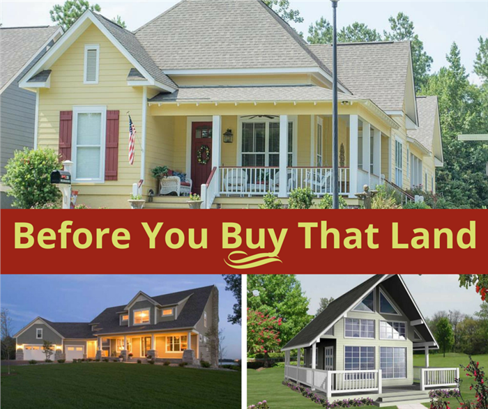 3 homes illustrating article about buying land on which to build