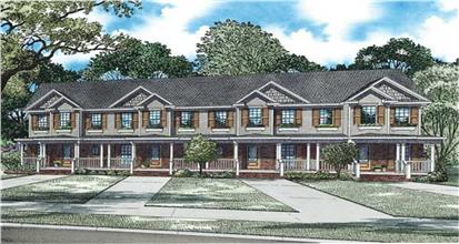 Multi-unit home in Traditional architectural style showing 4 attached units with front porches.