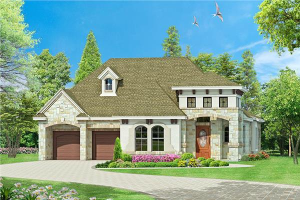 Lovely Tuscan style home plan with 3 bedrooms and Mediterranean influences throughout.