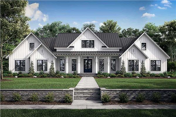 Traditional farmhouse style home with long, front covered porch, gable roof, and an informal yet inviting feel.
