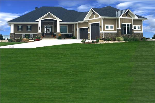 Attractive Ranch house plan in muted earth-tone wood siding and Craftsman architectural details