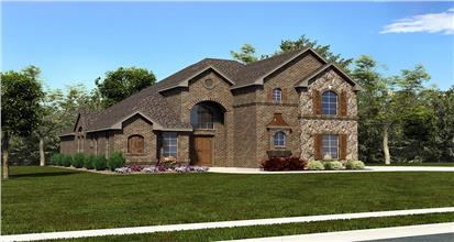 Stately 3062-sq.-ft. European house design in red brick siding with 5 bedrooms and 4 baths.