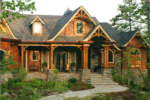 House In The Craftsman Style Of Architecture Exhibiting Details Such As Low Pitched Roof With Deep