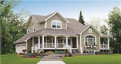 2-Story country style home with large porch and plenty of bedrooms.
