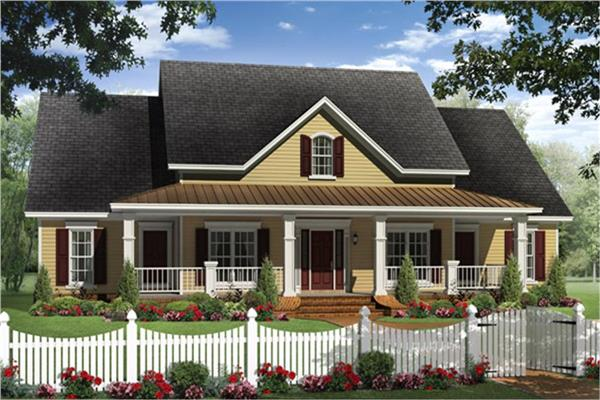 Country-style ranch home with wide front porch and VR video