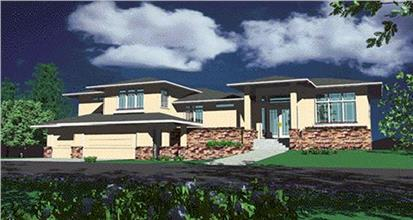 Contemporary Prairie home with stone wainscot siding and gray lap siding on upper portions of walls.