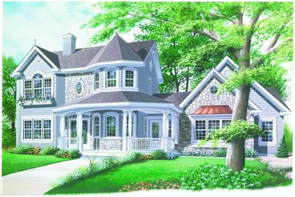 Victorian style house plan featuring a wrap around porch, a 2 story turret, 4 bedrooms and 3 baths.