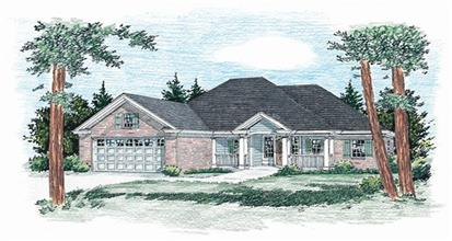 Wheelchair accessible home plan features country / ranch influences and extra large spaces.