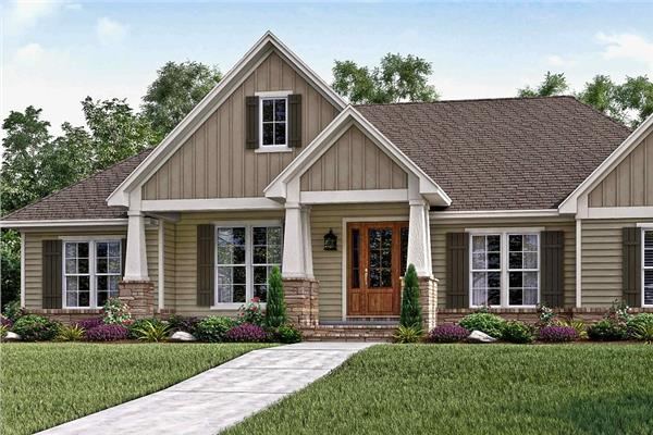 Yellow 3-bedroom Craftsman home design with stone accents, porch, gable roof, and brown shutters.