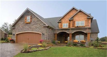 Stone and cedar siding dominate the facade of 4-bedroom house design in the Country style.