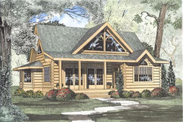 Log cabin style home design with a warm and rustic feel.