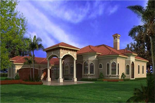 Stunning Spanish style home plan features one story living and 5 bedrooms.