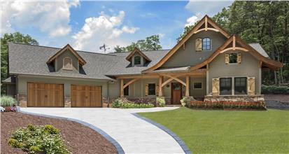3-bedroom, 2574-sq.-ft. Craftsman-style home design with shingle siding, porch, and timber eaves