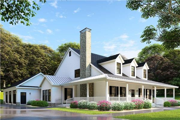 Traditional farmhouse style home with long, wraparound covered porch, gable roof, and an informal yet inviting feel.