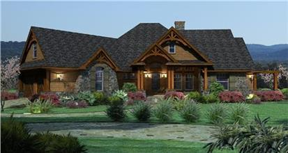 One story home in Country Ranch style with stone and shingle siding and porch lights shining in late afternoon.