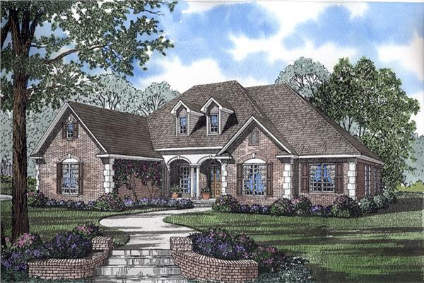 This traditional home in the French style boasts 4 bedrooms, a 3 car garage and one story living.