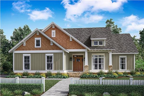 2000 square feet house plans with one story for Average cost to build a craftsman style home