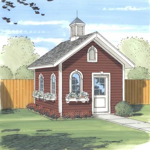 154-square-foot garden shed with cupola and red siding
