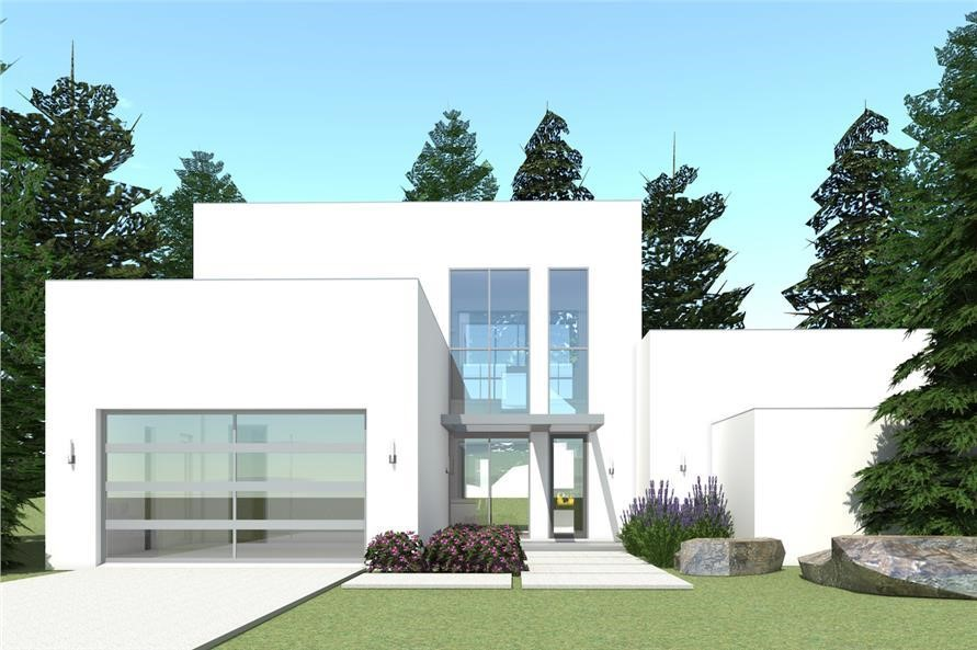 White Modern style house plan #116-1015 with 3 bedrooms