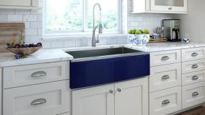 Stainless-steel farmhouse sink from Elkay with interchangeable apron