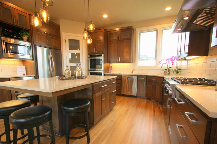 Subway tile used in Prairie style House Plan #108-1791 kitchen