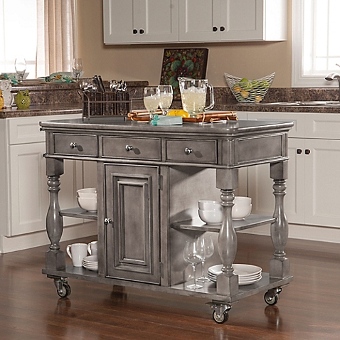 Kitchen island on wheels in a small kitchen can be moved when needed for more space