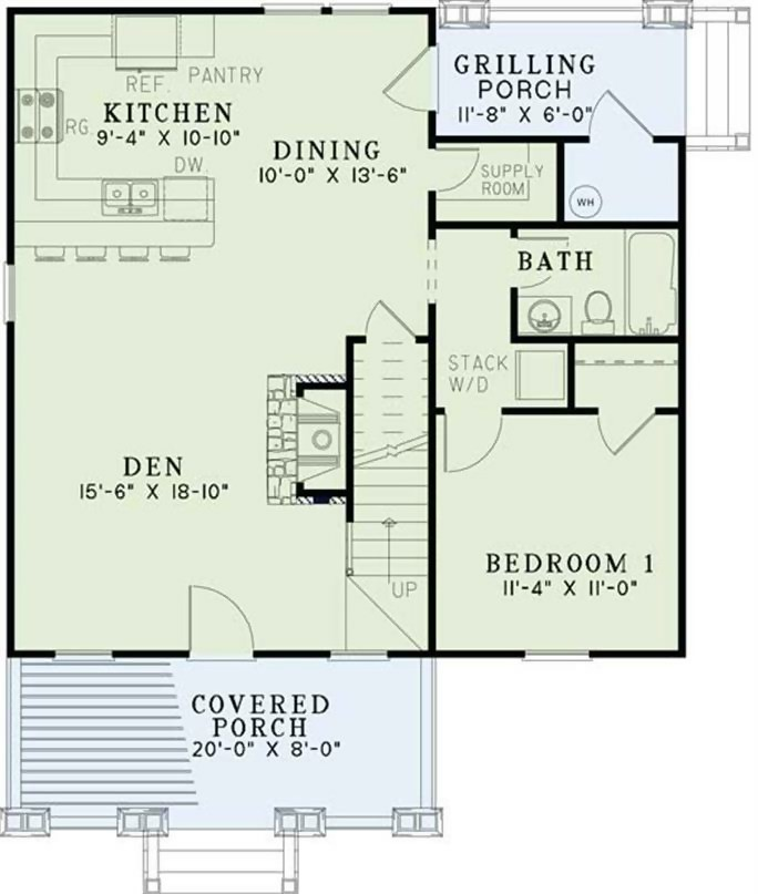 Main level floor plan of Plan #153-1147