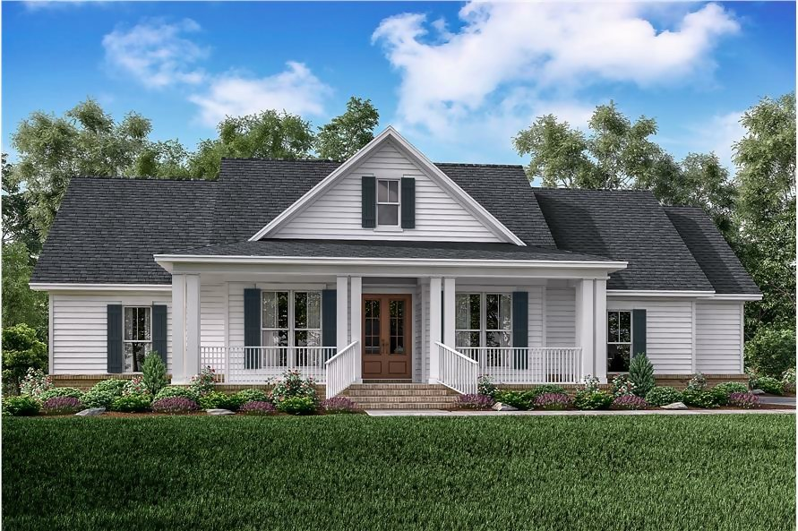 White farmhouse style home with front-facing gable and front porch