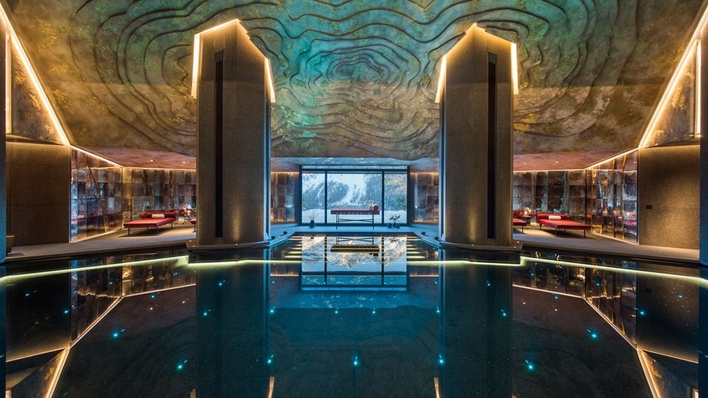 Glimmering pool lined with Swarovski multi-colored crystal lights
