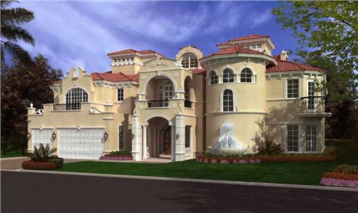 Magical castle-like luxury Mediterranean home built using concrete exterior walls