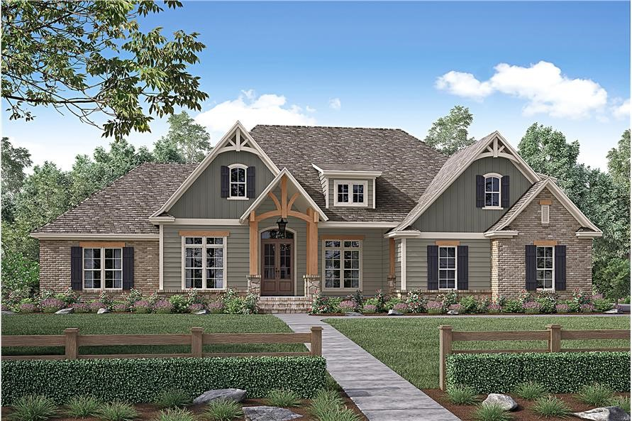 Brick-stone-wood exterior details and large windows on a Ranch style home with tremendous curb appeal
