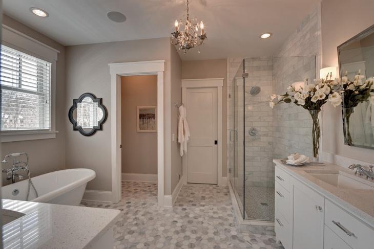 Bathroom with mosaic tile flooring