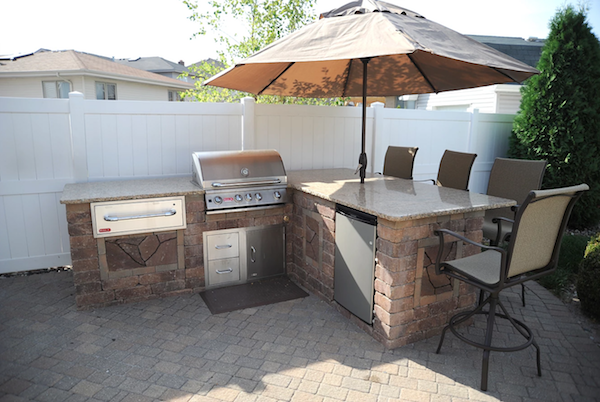 Outdoor kitchen on a patio