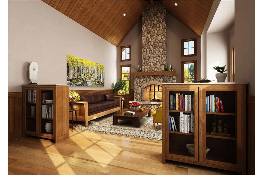 Vaulted-ceiling living room with natural wood featured throughout