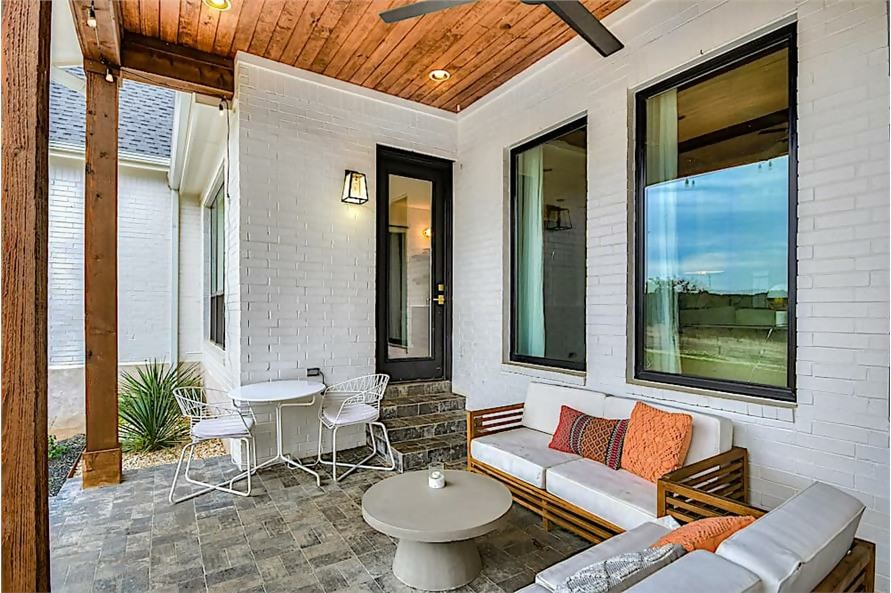 Covered rear porch, perfect spot for relaxing