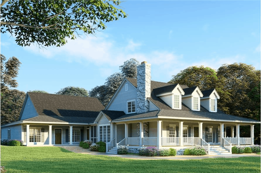Six-bedroom, four-bath Country style home with wrap-around porch